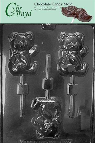 Teddy Bear Chocolate Mold - Cybrtrayd Life of the Party A123 Sweet Teddy Bear Pop Animal Chocolate Candy Mold in Sealed Protective Poly Bag Imprinted with Copyrighted Cybrtrayd Molding Instructions