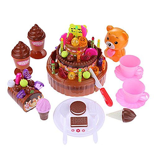 Trendyest DIY Music Bear 3 Layer Simulation Fruit Cake Pretend Play Toys Kids Gifts