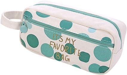 Fossrn Estuches Escolares 2 Cremalleras Niñas lona Estuche de Lápices Grandes Bolsa de cosméticos (D): Amazon.es: Oficina y papelería