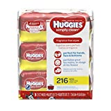 HUGGIES Simply Clean Fragrance-free Baby Wipes, Soft Pack (216 Sheets Total), Alcohol-free, Hypoallergenic