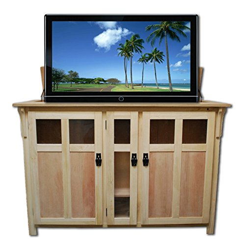 (Touchstone 70162 - Bungalow TV Lift Cabinet (Unfinished) - Up to 60 Inch TVs Diagonal (55 in Wide) - Mission Style Motorized TV Cabinet - Pop Up TV Cabinet with Memory Feature, IR/RF, 12V Trigger)