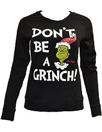 Dr. Seuss Womens Holiday Sweatshirt Black. The Grinch