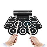 HJJH Electronic Drum Set Pad,Tabletop Electronic Drum Kit With Drumsticks & Built-In Learning Tools,Foot Pedals, Drumsticks, USB Cable For Practice