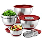 Wolfgang Puck Stainless-Steel Mixing Bowls with Lids, 12-Piece Set, Red
