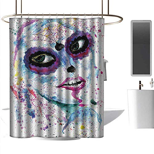 alisoso Extra Wide Shower Curtain Girls,Grunge Halloween Lady with Sugar Skull Make Up Creepy Dead Face Gothic Woman Artsy,Blue Purple Hanging Curtain Home Decoration W55 x L84 -