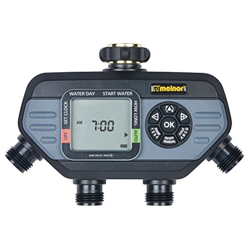 Melnor 73280 Digital Water Electronic Hose Timer, 4 Zone, Black/Gray