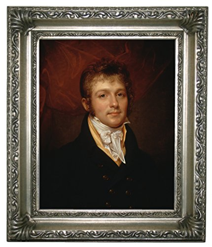 "Historic Art Gallery Portrait of Edward Shippen Burd of Philadelphia 1806 by Rembrandt Peale Framed Canvas Print 8"" x 10"" Silver Gallery"
