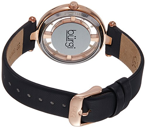 Burgi Women s BUR104 Rose Gold-Tone Diamond and Crystal Black Satin Strap Watch