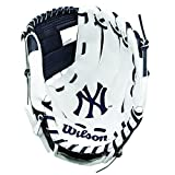 Wilson children's A200 Mlb Nyy Team Gloves, Navy/White, Size 10