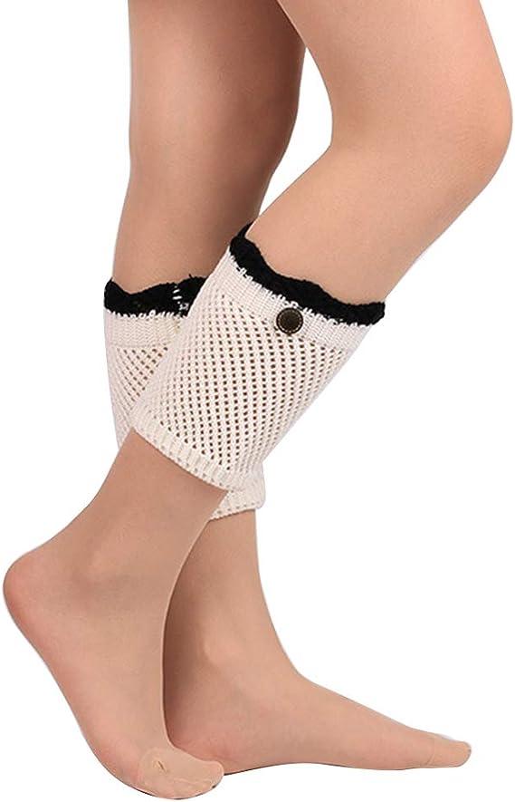 Women Winter Zipper Leg Warmer Gifts Knitted Socks Crochet Leggings Boot Toppers