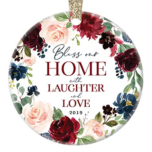 2019 Christmas Ornament New Home Collectible Housewarming Party Present Lovely Floral Ceramic Tree Decoration Happy Holidays Family Blessing Keepsake 3