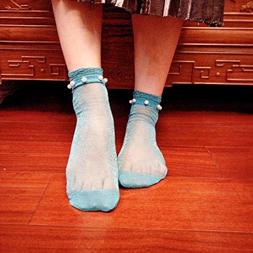 Women Fishnet Socks, Inkach Stylish Girls Summer Glitter Soft Lace Fishnet Mesh Ankle Short Socks Stockings F