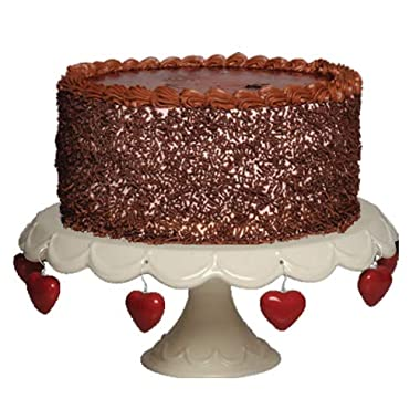 Tumbleweed Cake Pedestal with Charms, Cupcake Stand And Cake Stand, White Cake Plate, 11.25 Inch Diameter