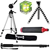 5pcs Accessory Package for Canon EOS SL1, 1Ds, 1D, 5D, 7D, 60D, 50D, T5i, T3, T3i, T2i, T1i, XSi and XS Digital SLR Cameras Includes 74 Tripod, 72 Monopod, Bubble Spirit Level and More