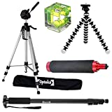 5pcs Accessory Package for Canon EOS SL1, 1Ds, 1D, 5D, 7D, 60D, 50D, T5i, T3, T3i, T2i, T1i, XSi and XS Digital SLR Cameras Includes 74'' Tripod, 72'' Monopod, Bubble Spirit Level and More