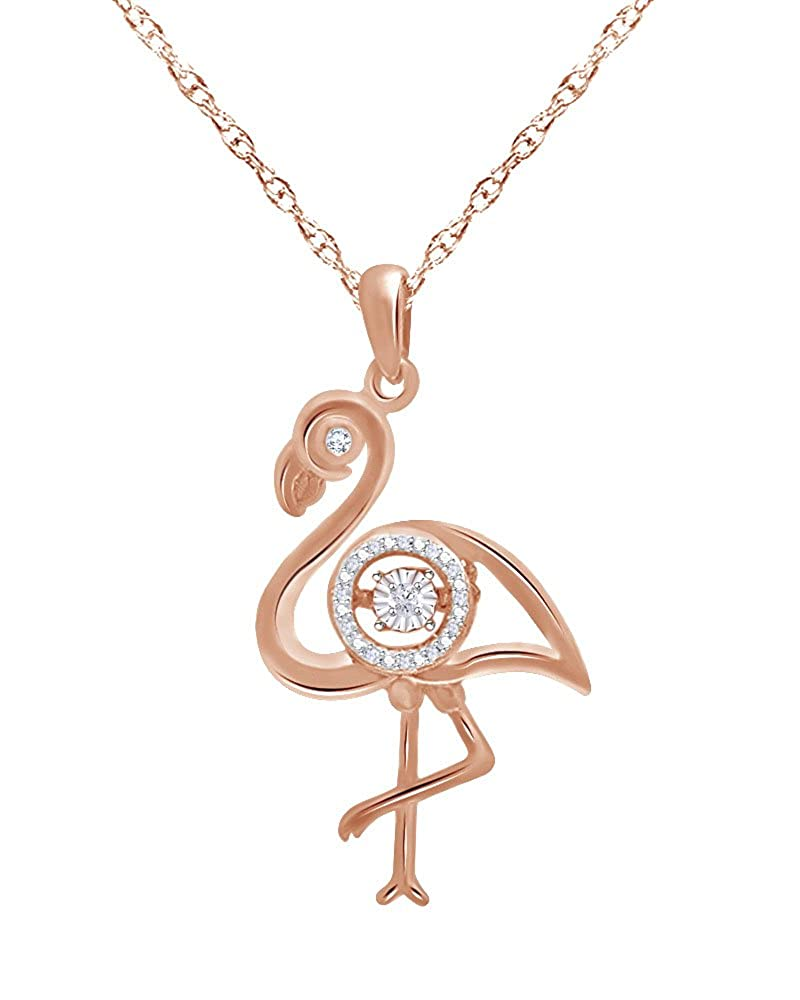 Wishrocks Round Cut Diamond Accent Flamingo Pendant in 14K Gold Over Sterling Silver