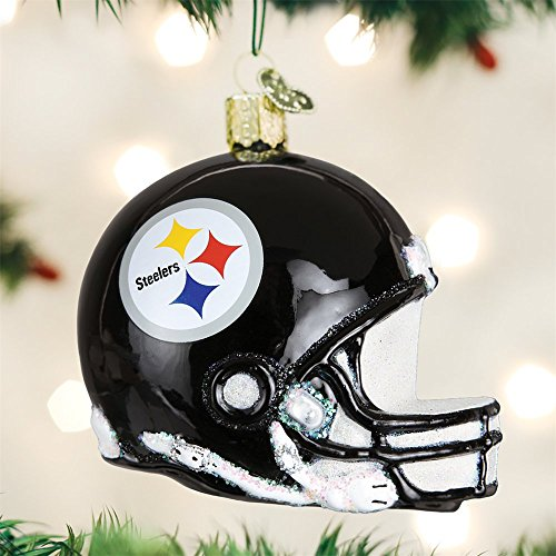 OLD WORLD CHRISTMAS PITTSBURGH STEELERS FOOTBALL HELMET GLASS ORNAMENT 3.5