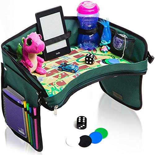 Premium Kids Car Seat Tray - Bonus Snakes + LADDERS Game   Reinforced Base + Walls   Detachable Kids Travel Tray   Portable Toddler Travel Stroller Tray   Foldable Baby Car Tray for Kids in Car