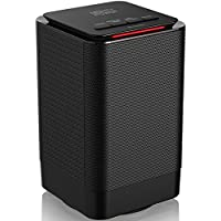 COMPACT PERSONAL SPACE HEATER with FAN by Mighty Power, 950 Watts of Heat, Mini Design, Ultra Quiet, Great for Home, Office, Tip-Over and Overheat Protection, 90 Degree Oscillation, Black 5x5x8 Inches
