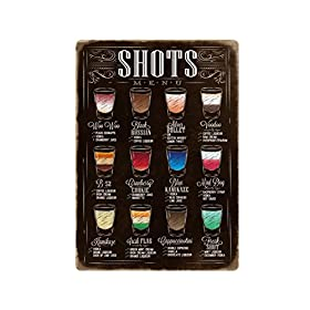 AMERICAN WIT Quality Metal Signs, Shots Menu, Funny Novelty High Grade Aluminum Sign for Your Home K