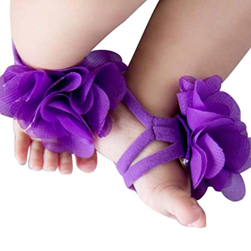 Voberry Baby Girl's Barefoot Sandals Flower Shoes (Purple)