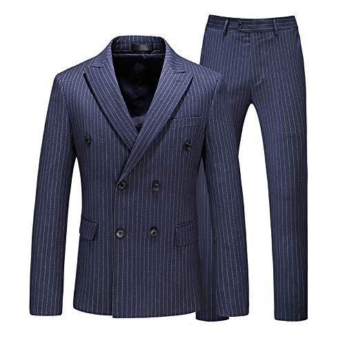 MAGE MALE Men's 3 Piece Suits Pinstripe Slim Fit Double Breasted Formal Business Blazer Vest Pants ()