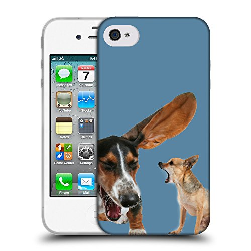 GoGoMobile Coque de Protection TPU Silicone Case pour // Q05600600 Basset chihuahua Air Force Blue // Apple iPhone 4 4S 4G
