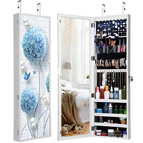 - LANGRIA 8 LEDs Mirror Jewelry Cabinet Lockable Wall/Door Mounted Armoire with 3D Magnetic Flower Picture