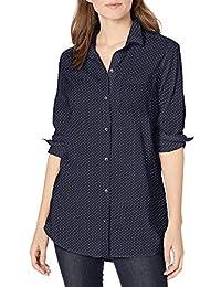 Goodthreads Camisa de Manga Larga de Popelina Ligera para Novio Camisa de Botones para Mujer