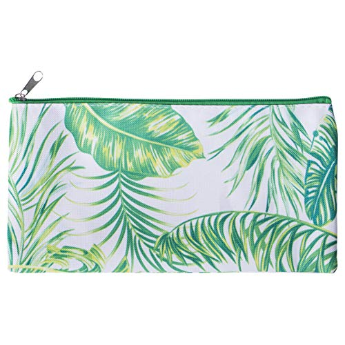 Pencil Case Zippered Palm Tree Leaves 10 x 6 Microfiber Fabric Cosmetic ()