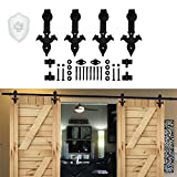 Rolling Barn Door Hardware Kit - KIRIN 9 FT Sliding Barn Wood Door Hardware Track Kit (Double Door) with Flower Arrow Shape Hangers 9ft Rail for 2 dooors