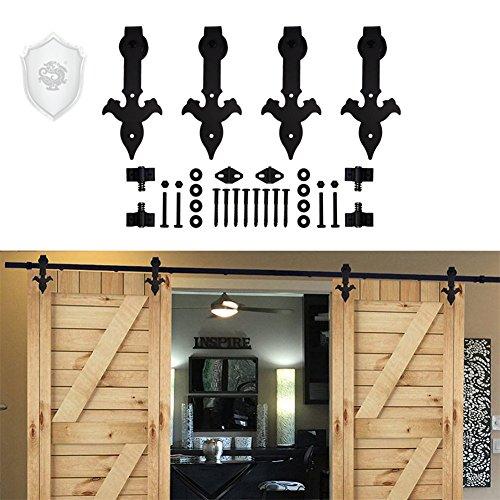 Rolling Barn Door Hardware Kit - KIRIN 9 FT Sliding Barn Wood Door Hardware Track Kit (Double Door) with Flower Arrow Shape Hangers 9ft Rail for 2 dooors by kirin