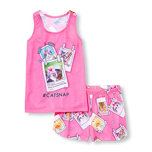 Short Girls Pajamas - The Children's Place Big Girls' Top and Shorts Pajama Set, Neon Peony, L (10/12)