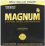Magnum Lubricated Latex Large Size Condoms, 4 Boxes (36 Condoms)