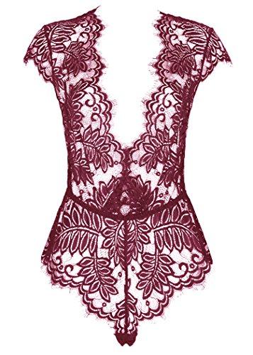 AvaLolita Women's Lingerie Floral Lace Bodysuit Deep V Babydoll L Wine Red