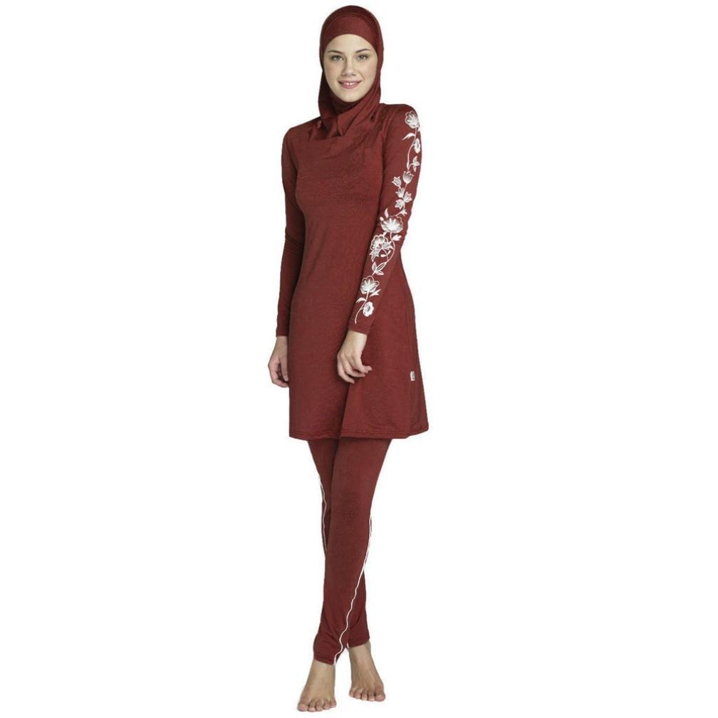 Mitlfuny Damen Muslimisch Islamisch Drucken Volle Deckung Hijab Badebekleidung Burkini Badeanzug ÜBergrößE Full Cover Bescheidene Badebekleidung Modest Muslim Swimwear