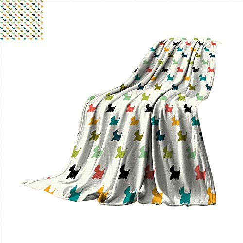 Dog Lover Cotton Blanket Colorful Scottish Terrier Silhouettes Polka Dot Backdrop Purebred Animal Pattern Sand Free Beach Blanket 70 x 60 inchMulticolor
