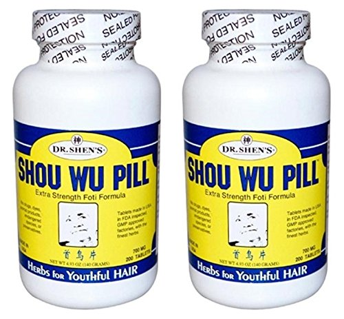 Dr. Shen's Shou Wo Youthful Hair (Pack of 2) Fleece Flower Root, Szechuan Lovage and Hoelen Mushroom, 200 Tablets Each by DR. SHEN'S