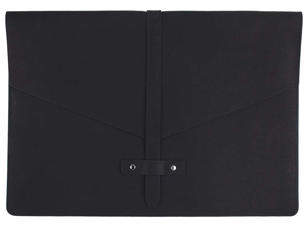 "SLATE COLLECTION Belltown Laptop Sleeve, Full-Grain Leather (Midnight, fits 15"" Laptop)"