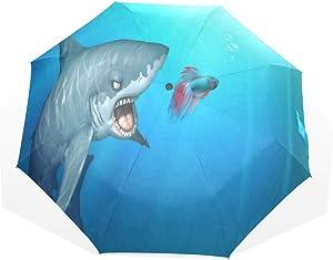 HangWang Umbrella Shark After The Fish Travel Golf Sun Rain Windproof Umbrellas with UV Protection for Kids Girls Boys