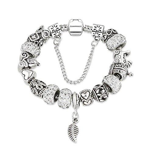 Olive Tayl Rhinestone European Beads Charm Women Bracelets Fashion Charm Bracelets Bangles For Women Jewelry With Beautiful Gift Bag Black (Rhinestone Trifari Necklace)