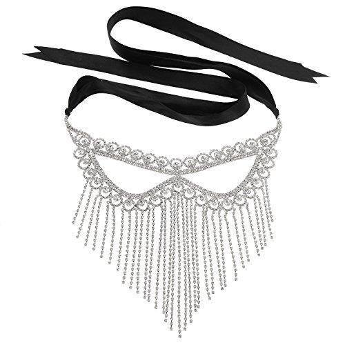 Rhinestone Loop Fringe Full Face Masquerade Ball Mask (Silver)