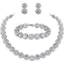EVER FAITH Silver-Tone Round Cut Cubic Zirconia Tennis Necklace Bracelet Earrings Set