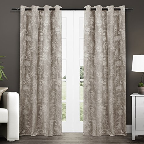 Exclusive Home Bangalore Paisley Room Darkening Thermal Grommet Top Window Curtain Panels – 54″ X 84″, Natural, Sold as Set of 2 / Pair