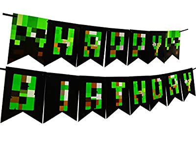 Pixel World Party Decoration Happy Birthday Banner For Gaming Boy Supplies Bunting