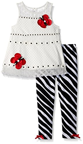 Rare Editions Girls' Toddler Animal Print Legging Set, White/Black, 4