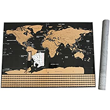 Amazon fossa scratch off world map wall poster large 32 x 23 fossa scratch off world map wall poster large 32 x 23 mark and gumiabroncs Choice Image