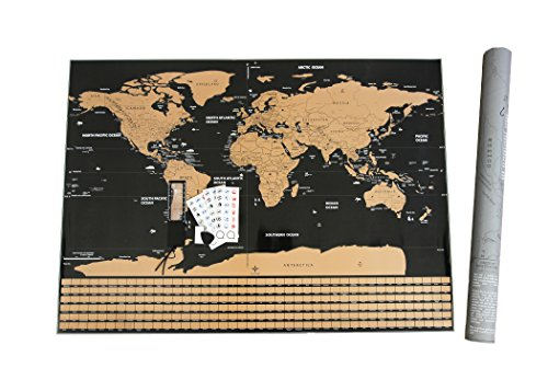 """FOSSA Scratch Off World Map Wall Poster. Large 32"""" x 23"""" Mark and Track Your Travel - Perfect Gift for Travelers"""