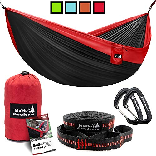 Lightweight Double Camping Hammock - Adjustable Tree Straps & Ultralight Carabiners Included - Two...