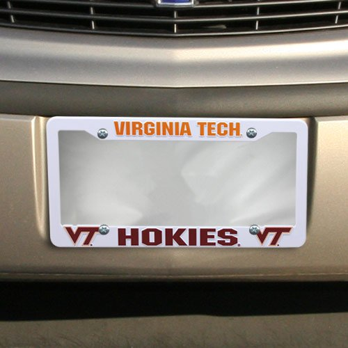 Football Fanatics NCAA Virginia Tech Hokies Plastic License Plate Frame - White